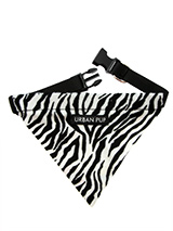 Zebra Print Bandana - Our Zebra Bandana is a contemporary animal print style and is right on trend. Just attach your lead to the D-ring and this stylish Bandana can also be used as a collar. It is lightweight, incredibly strong, stylish and practical.